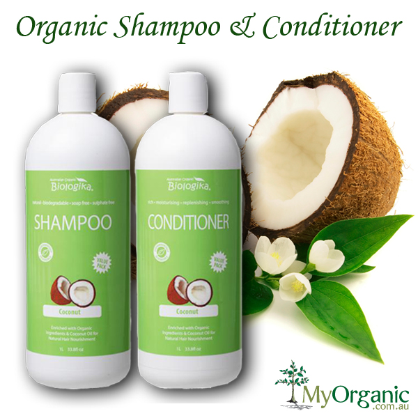 Coconut Organic Shampoo And Conditioner 1 Litre Each